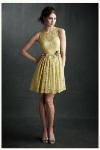 greenish yellow dress with lace detail