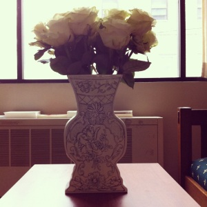 Roses in Molly Hatch Vase via Anthropologie