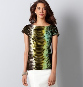 Palm Leaf Print Tee from Loft
